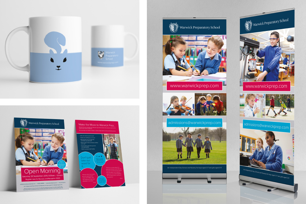 WARWICK PREP SCHOOL, MUGS, ADVERTISING, LEAFLETS, PULLUPS